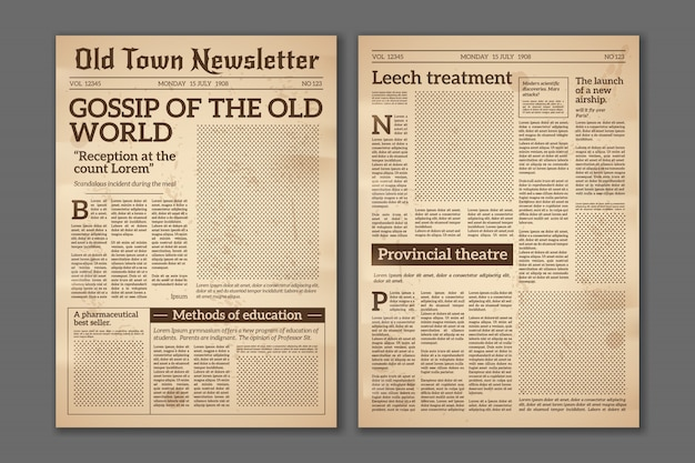 Giornale vintage. articoli di giornale rivista di stampa vecchio design. opuscolo pagine di giornale. modello di carta grunge retrò giornale vettoriale