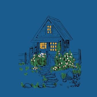 Illustrazione di notte vintage con una piccola casa, giardino e fiori. paesaggio rustico.
