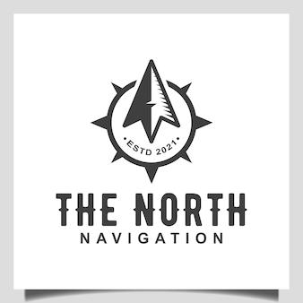 Vintage il nord con il vettore dell'icona del navigatore della bussola per il design del logo all'aperto di avventura di viaggio