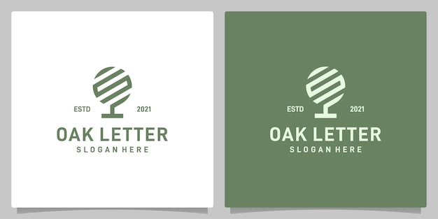Vettore di logo di disegno astratto dell'albero di quercia vintage con ispirazione del logo della lettera s. vettore premium