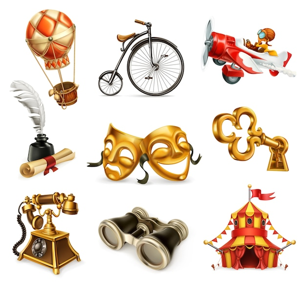Set di icone di oggetti vintage.