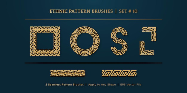 Collezione di cornici di bordi con motivo geometrico greco antico vintage