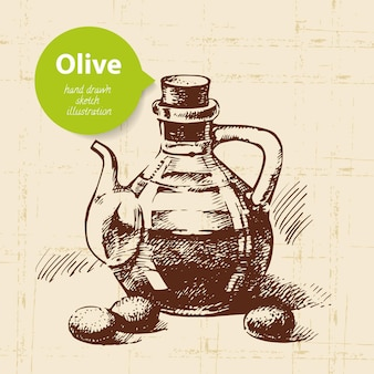 Sfondo oliva d'epoca. illustrazione disegnata a mano