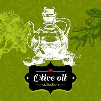 Sfondo vintage oliva con illustrazione di schizzo disegnato a mano e motivo floreale. design del pacchetto