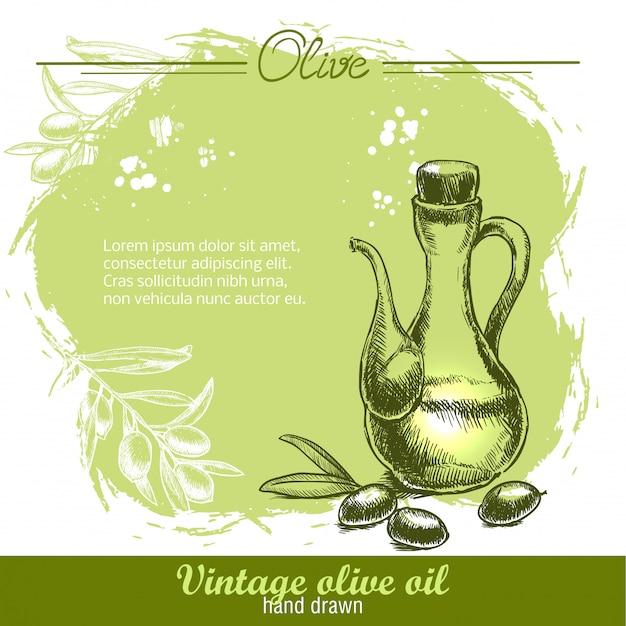 Bottiglia di olio d'oliva vintage con ramo d'ulivo.