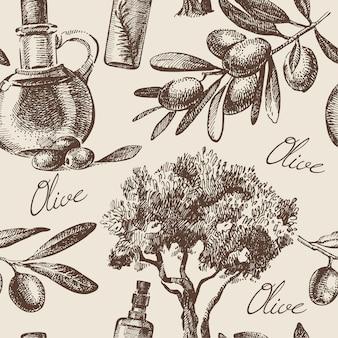Modello senza cuciture oliva d'epoca. illustrazione disegnata a mano