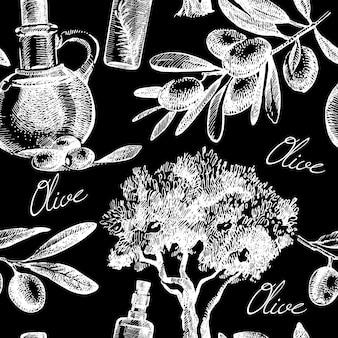 Modello senza cuciture oliva d'epoca. illustrazione vettoriale di schizzo disegnato a mano