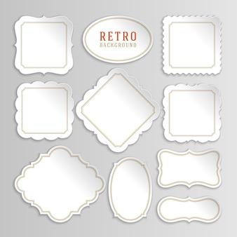 Set di etichette e adesivi bianchi traforati vintage