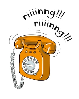 Illustrazione disegnata a mano del telefono arancio d'annata.