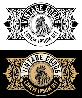 Etichetta gallo fattoria biologica vintage