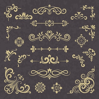 Ornamento d'epoca. bordi divisori ornato stile vittoriano floreale cornice matrimonio vettore tipografia set. illustrazione calligrafica matrimonio, calligrafia cornice floreale