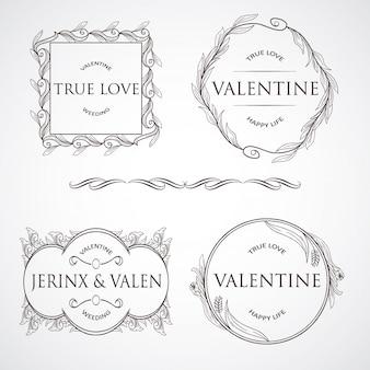 Set di elementi ornamenti vintage