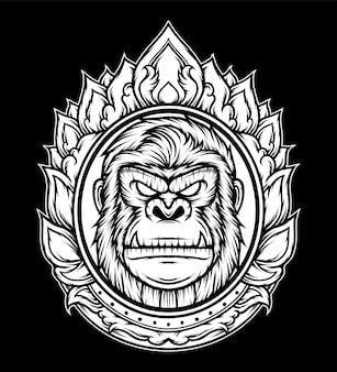 Ornamento vintage della testa di gorilla. vettore premium