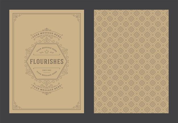 Vintage ornamento biglietto di auguri turbinii ornati calligrafici e vignette modello di struttura del telaio