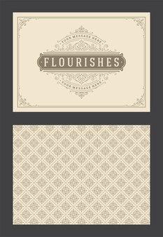 Vintage ornamento biglietto di auguri turbinii ornati calligrafici e vignette