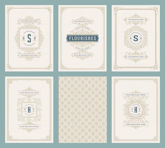 Cartoline d'auguri dell'ornamento dell'annata messe modelli di vettore
