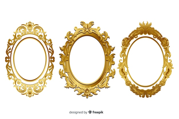 Collezione di cornici ornamentali vintage Vettore Premium
