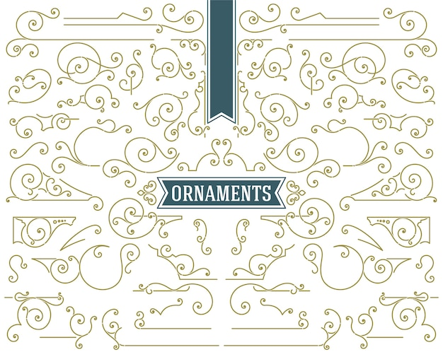 Set di elementi di design di ornamenti d'epoca e volute