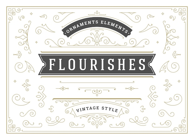 Ornamenti vintage turbinii e pergamene decorazioni elementi di design set fiorisce calligrafico