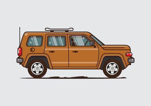 Illustrazione di auto all'aperto d'epoca. vector piatta