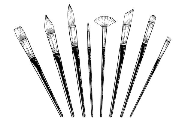 Collezione di pennelli per pittura vintage illustrazione vettoriale di schizzo disegnato a mano