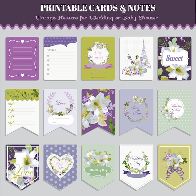 Set di carte vintage pansy flowers - per compleanno, matrimonio, baby shower, festa, design