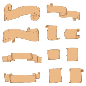 Vettore di tiraggio della mano del nastro e della carta d'annata