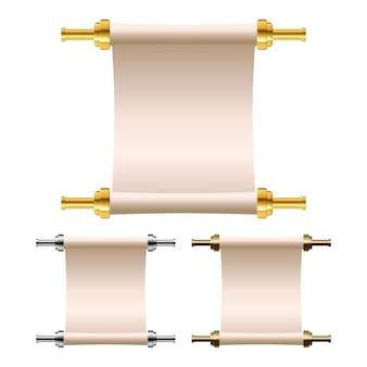 Illustrazione del rotolo della carta d'annata isolata su fondo bianco