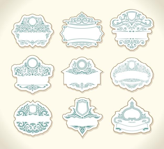 Adesivi vintage pastello con cornici modello di design ornamenti floreali