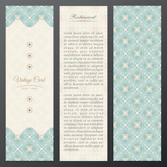 Modello vintage etichette carte verticali in design etnico cornice floreale orientale