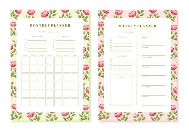 Modello di planner mensile e settimanale floreale peonia vintage