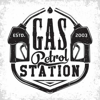 Design del logo vintage stazione di benzina con un emblema della stazione di benzina
