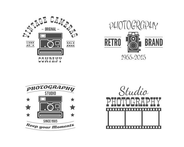 Distintivi di fotografia d'epoca, etichette. loghi vettoriali stock