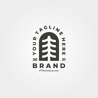 Pini vintage emblema logo simbolo minimalista