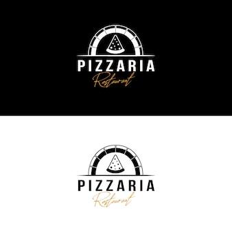 Modello di logo vintage pizza per ristorante pizzeria o bar. simboli per cibo e bevande e ristoranti illustrazione vettoriale
