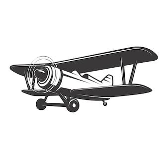 Illustrazione dell'aereo d'annata su fondo bianco. elemento per logo, etichetta, emblema, segno. illustrazione