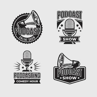 Collezione di logo podcast vintage