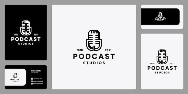 Studio di registrazione del simbolo del design del logo del podcast vintage