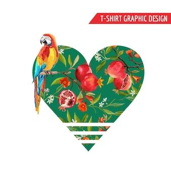 Melograni vintage, fiori e uccelli pappagallo in stile acquerello