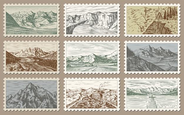 Set di francobolli post vintage