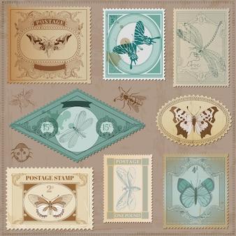 Francobolli d'epoca con farfalle disegnate a mano calligrafiche