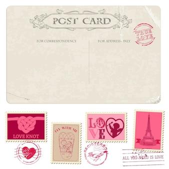 Cartolina d'epoca e francobolli