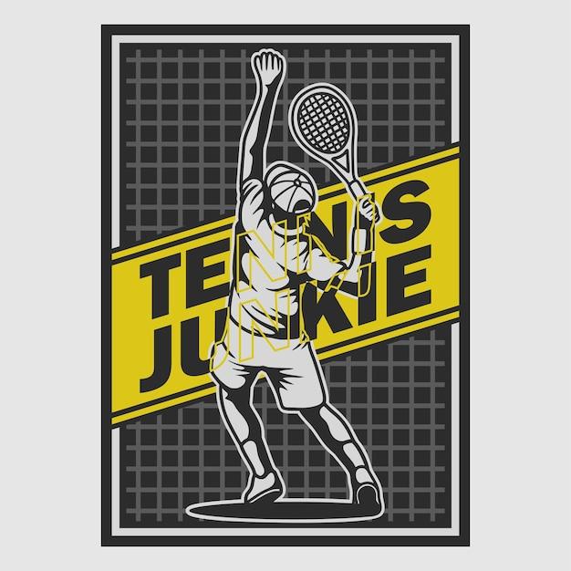Vintage poster design tennis drogato illustrazione retrò