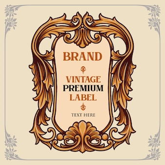 Illustrazioni di ornamenti per etichette vintage premium