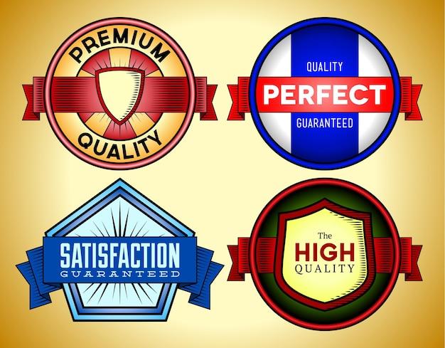 Etichette vintage premium a colori