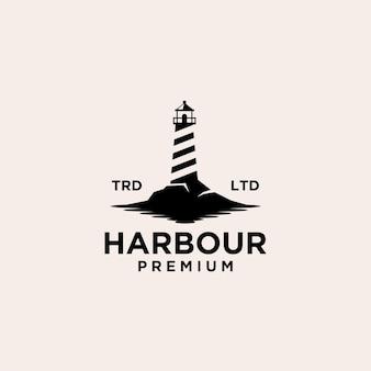 Design del logo vettoriale vintage premium minimalismo faro