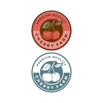 Distintivo vintage di qualità premium retrò frutta ciliegia