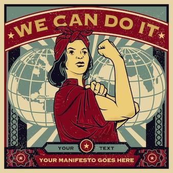 Manifesto di propaganda d'epoca ed elementi di una voce femminista contro il potere.