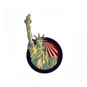 Propaganda d'epoca del logo della statua della libertà negli stati uniti. americano 4 luglio. simboli di libertà justi