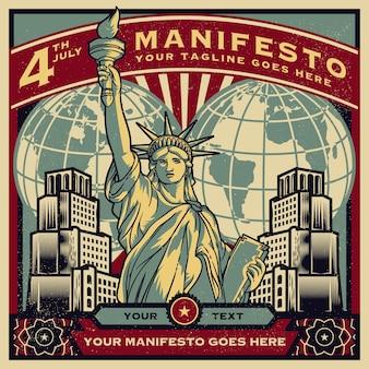 Propaganda d'epoca di poster ed elementi della statua della libertà negli stati uniti. americano 4 luglio
